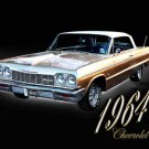 "Chevrolet Impala (1964) Car Poster Print on 10 mil Archival Satin Paper 16"" x 12"""