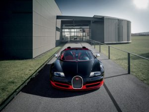 "Bugatti Veyron Grand Sport Vitesse Black/Red Car Poster Print on 10 mil Archival Satin Paper 16""x12"""