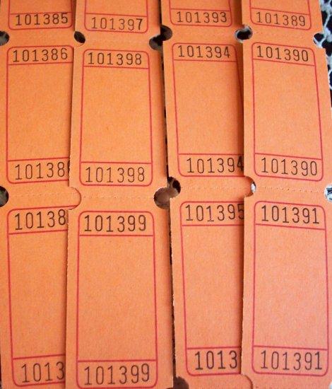 25 Blank Raffle Tickets Orange