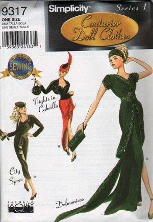 """Gene Fashion Doll 15 1/2 """" Daytime Diva Fashions Simplicity Series 1 Couturier Sewing Pattern NEW"""