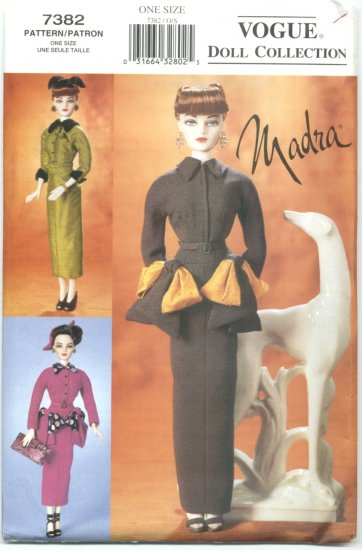 "Madra Fashion Doll 15 1/2"" 50's Style Vogue Doll Collection Sewing Pattern NEW"