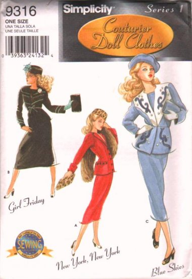 """Gene Fashion Doll 15 1/2"""" Daytime 50's Fashions Series 1 Couturier Sewing Pattern NEW"""