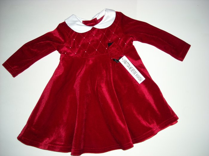 Sophie Rose Red Holiday Dress 2 piece set size 18M