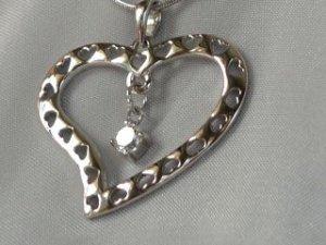 Sterling silver heart on heart #316