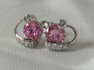 Pink CZ's in sterling silver earrings