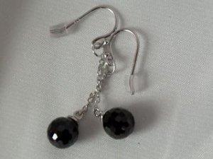 Zirconia bead #322 in sterling silver earrings