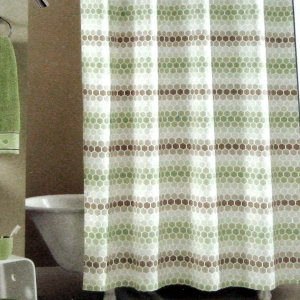 Kohls Apt 9 Green Taupe Beige Tan Honeycomb EQUINOX Fabric Shower Curtain