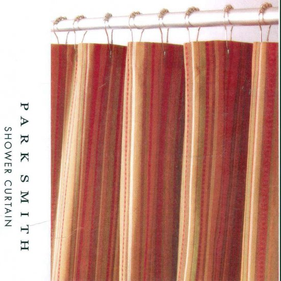 Kohl 39 s newport stripe rust brown gold fabric shower curtain for Brown and gold bathroom sets
