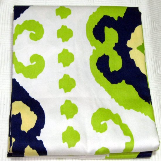 Target Home TILE WORK Navy Lime Yellow Fabric Shower Curtain