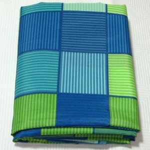 HOOKLESS Blue Aqua Lime Plaid Fabric Shower Curtain