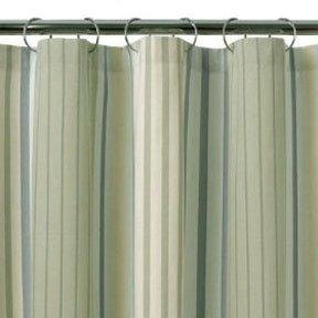 Stripe Shower Curtain Blue Green Fabric