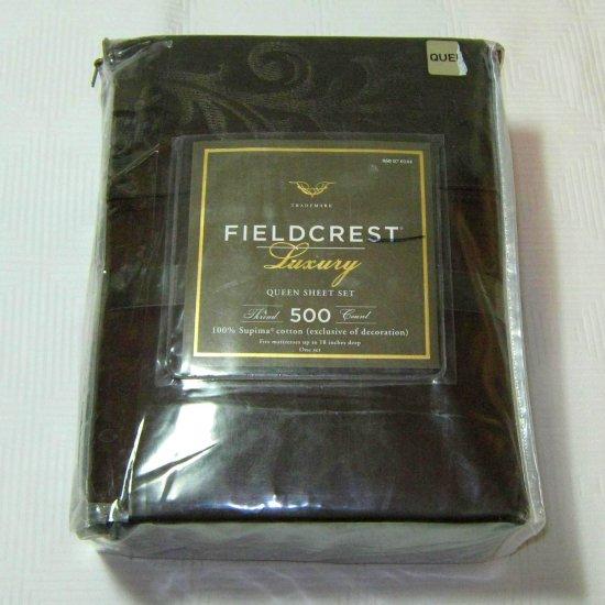 Fieldcrest Luxury BROWN 500 TC Queen Embroidered Supima Sheet Set