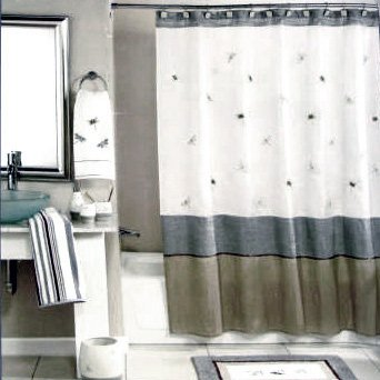 Peri Shalimar Dragonfly Fabric Shower Curtain Taupe Ivory