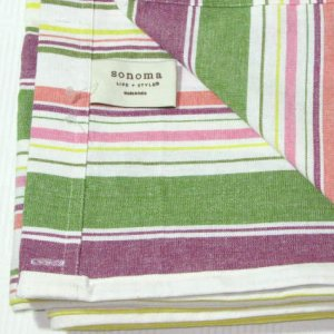 Kohl's Sonoma SPRING STRIPE Multicolor Pink Green Fabric Shower Curtain