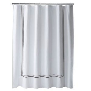 Fieldcrest Luxury Gray Border White Fabric Shower Curtain Target