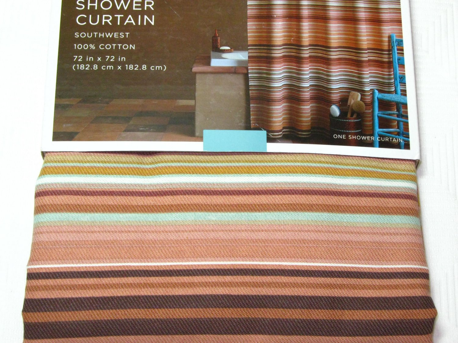 Target Home SOUTHWEST Fabric Shower Curtain Terracotta Turquoise