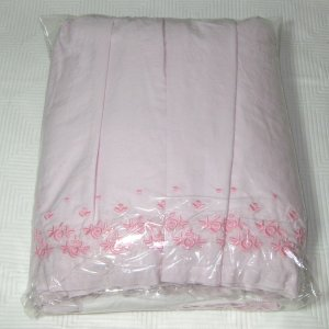Simply Shabby Chic KING Embroidered Pink RUFFLED USED Bedskirt