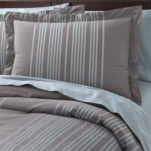 Fieldcrest Luxury Blue Stripe Queen Full Duvet Set 2 Shams