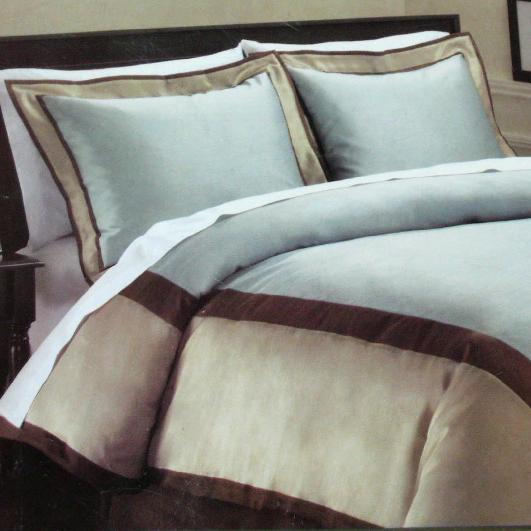 Kohl's PRESIDIO Queen Duvet Set 2 Shams HOTEL by Park Avenue Blue Brown Faux Silk Polyester