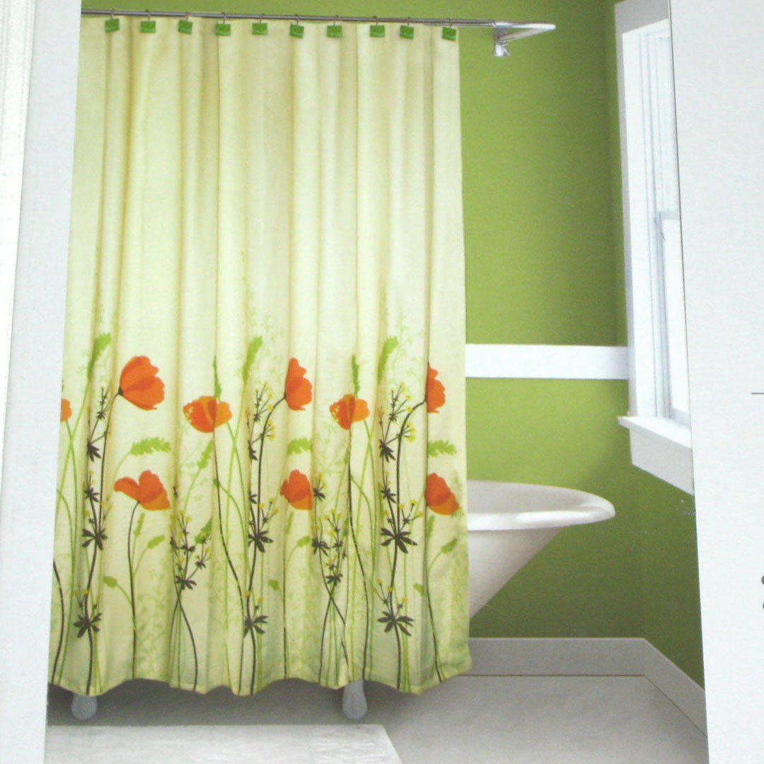 Springmaid chantal orange green brown fabric shower for Bathroom decor green and brown