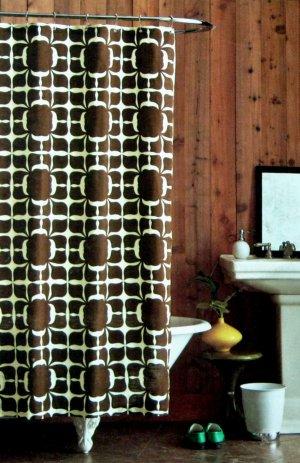 Dwell Studio FLORAL BLOCK Brown Cream Fabric Shower Curtain Target