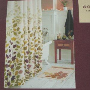 Kohls Sonoma MARIPOSA LEAF Green Brown Fabric Shower Curtain