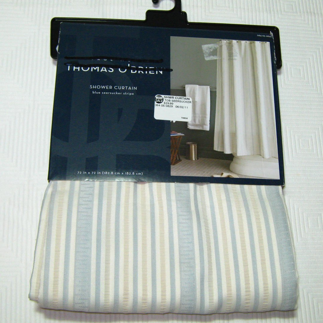 Thomas O Brien Shower Curtain Seersucker Light Blue Gray