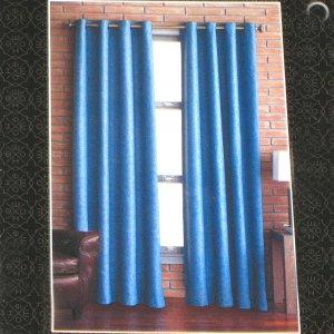 Target Home BLUE BASKETWEAVE  Set of  Four  Window Panels 54 X 84 Grommet Curtains