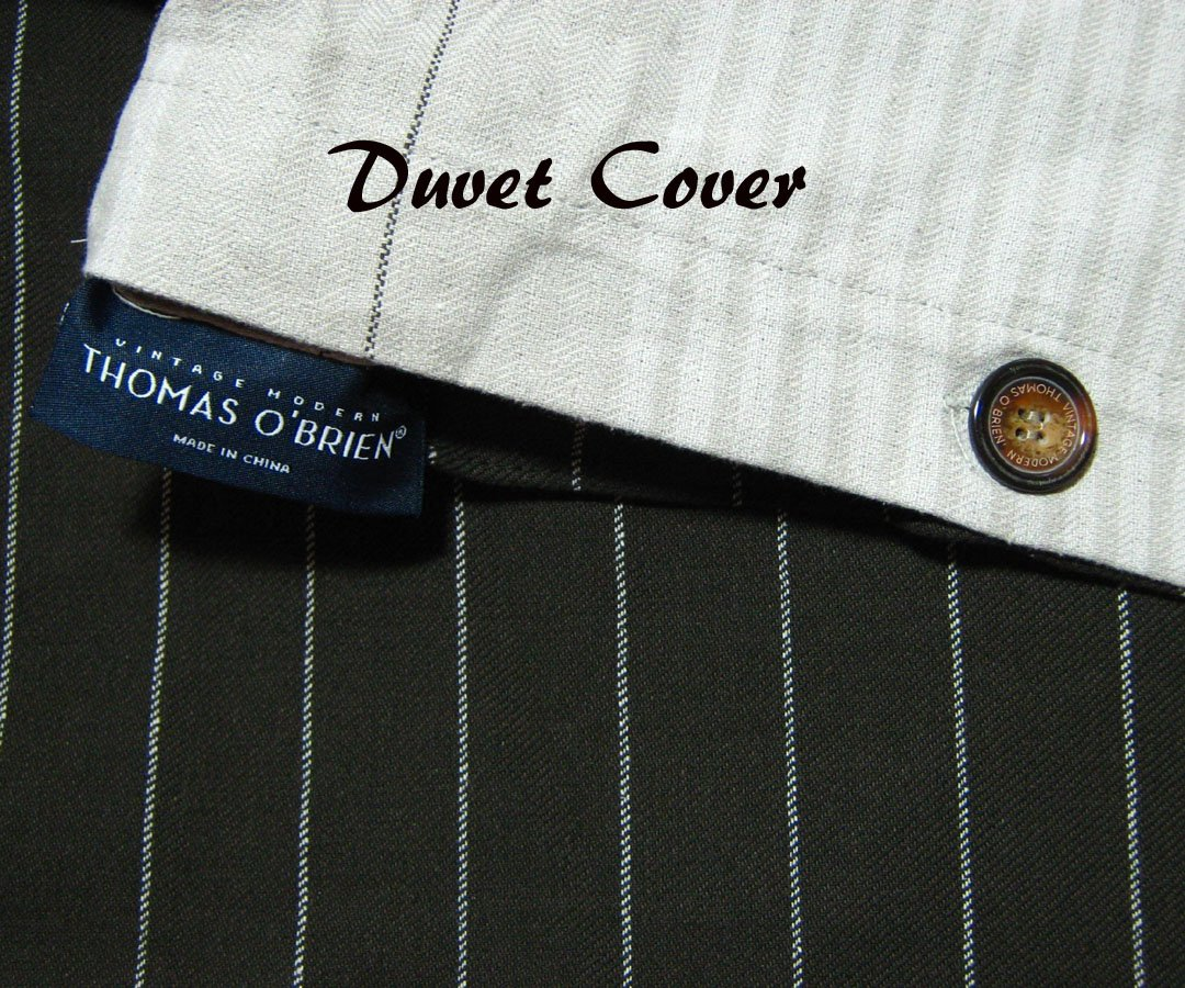 Thomas O Brien King Espresso Pinstripe Duvet Set Menswear