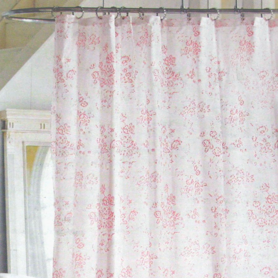Simply Shabby Chic Pink Fl Toile Cottage Cabbage Rose Shower Curtain Target
