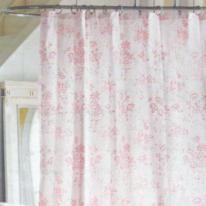 Simply Shabby Chic PINK FLORAL TOILE Cottage Cabbage Rose Shower