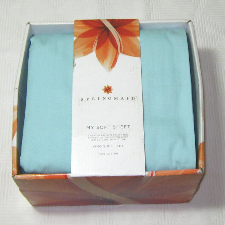 Springmaid King My Soft Sheet Set Sea Mist Blue 300 Tc