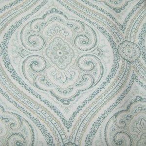 Fieldcrest Luxury OGEE PAISLEY Blue Green Fabric Shower Curtain Target
