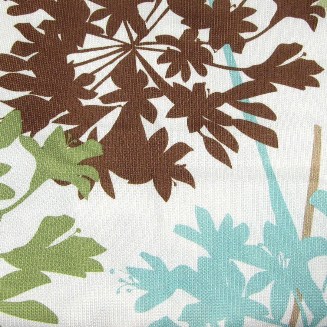 Free Spirit Floral Garden Vines Aqua Brown Green Polyester Fabric Shower Curtain