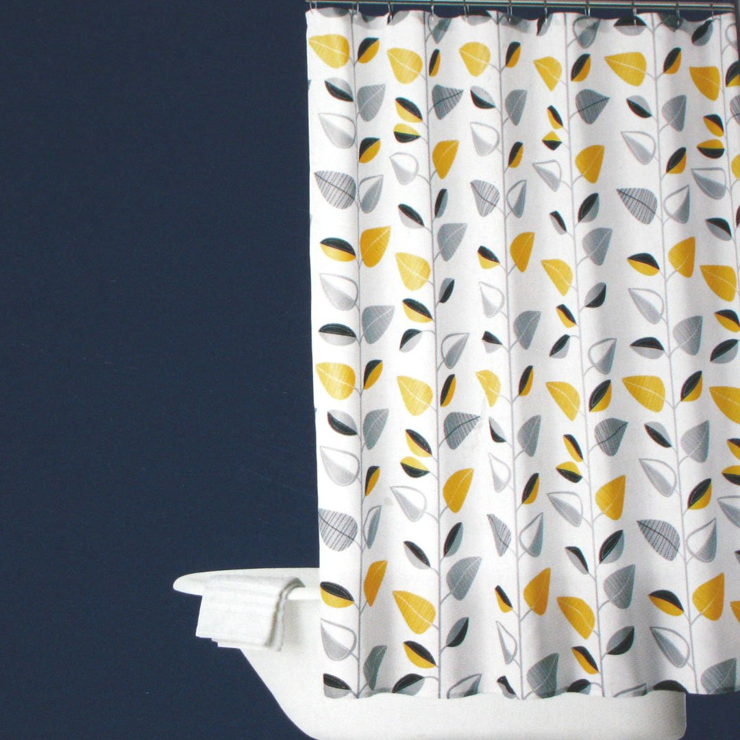 room essentials yellow vine leaf black gray shower curtain. Black Bedroom Furniture Sets. Home Design Ideas