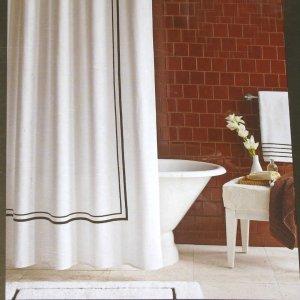 Fieldcrest Luxury BROWN BORDER White Pique Fabric Shower