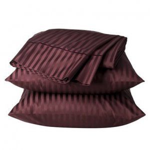 Fieldcrest Luxury DAMASK STRIPE 450 TC FULL Cotton Sheet Set Wine Burgundy