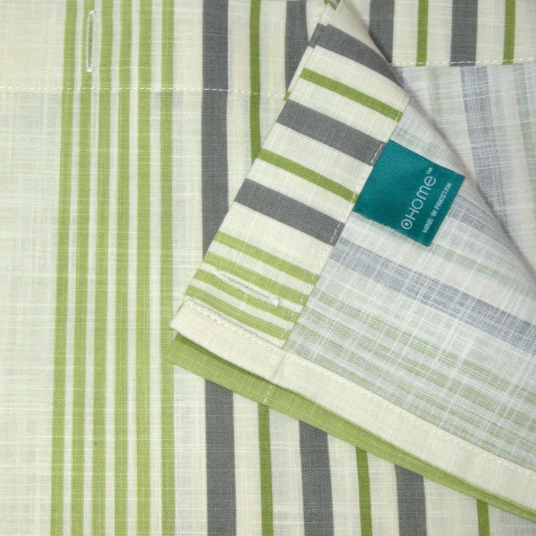 Wonderful Target Home GREEN STRIPE Gray Ivory Fabric Shower Curtain SY96