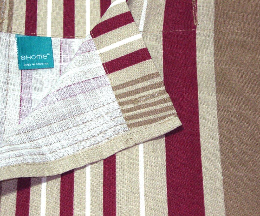Target Home Red Stripe Burgundy Khaki Taupe Fabric Shower Curtain