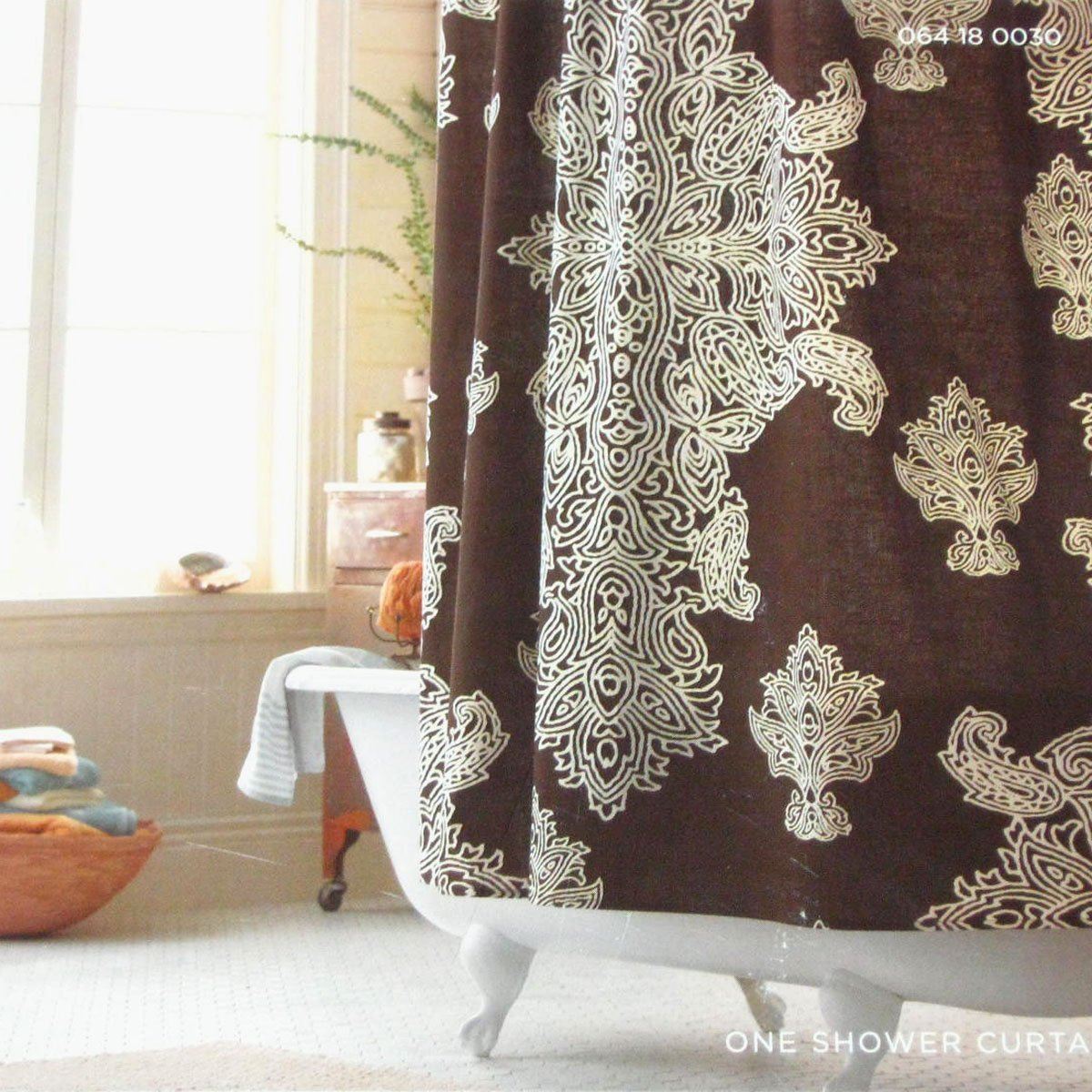 Target Home BROWN MEDALLION Fabric Shower Curtain