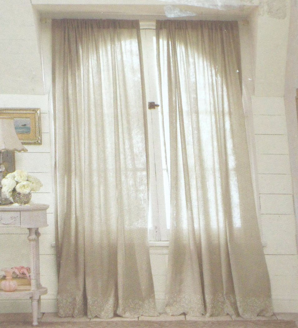 Simply Shabby Chic EMBROIDERED LINEN Gray Window Panels ...