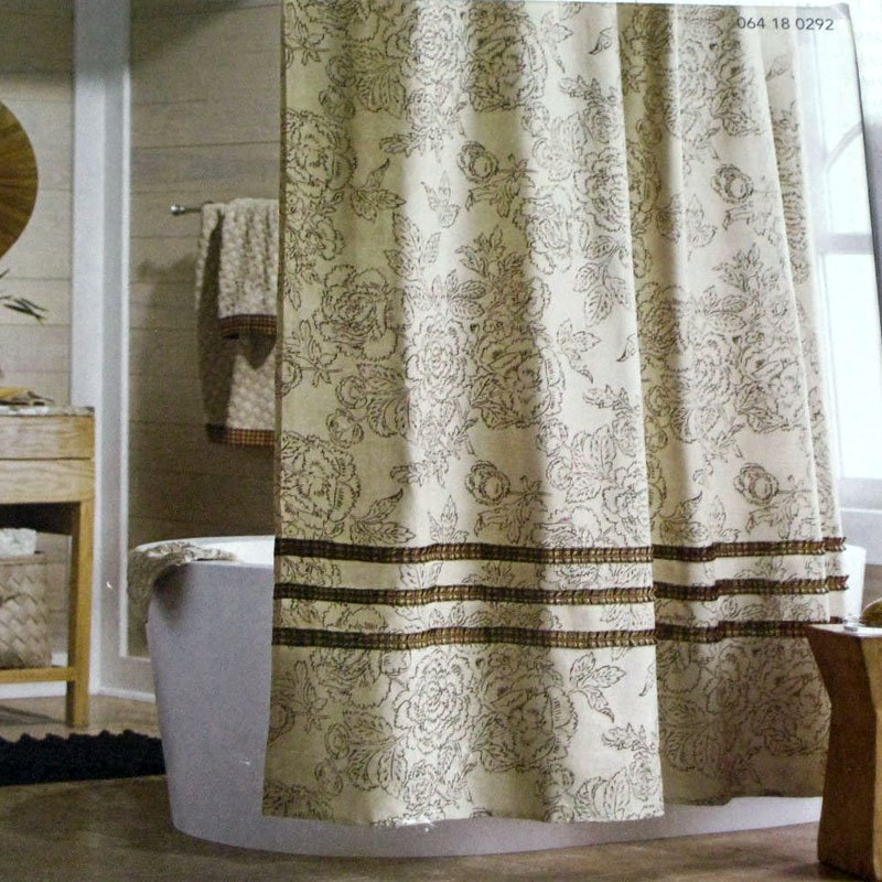 Threshold TAN RUFFLE Brown Beige Red Gold Fabric Shower Curtain Target