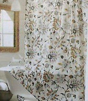 Target Home TAN MULTI JACOBEAN Gold Gray Khaki Brown Fabric Shower Curtain