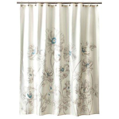 Target Home Aqua Sketch Floral Ivory Brown Fabric Shower