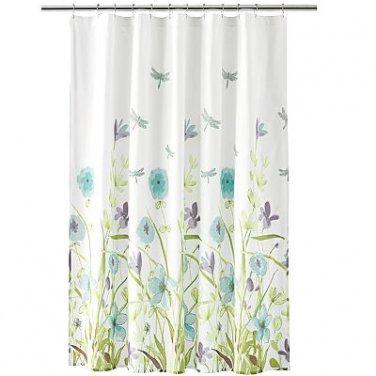Free Spirit DRAGONFLY FLOWERS Aqua Green Lavender Fabric Shower Curtain