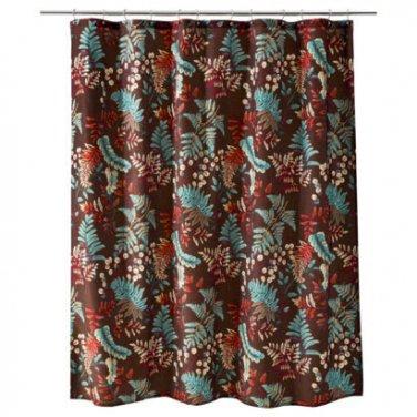 Threshold RUST FERN Brown Teal Red Orange Fabric Shower