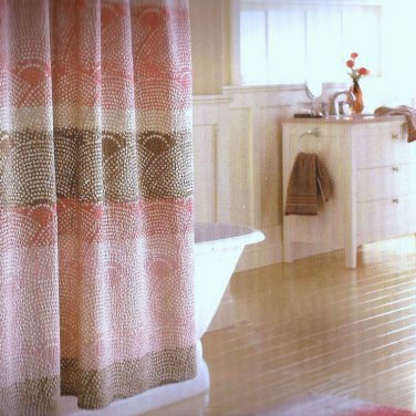 Threshold SCALLOP DOT Warm Seersucker Coral Khaki Fabric Shower Curtain  Target