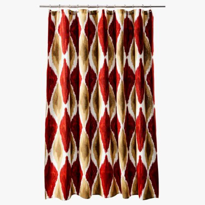 Threshold Large Ikat Red Gold Brown Fabric Shower Curtain