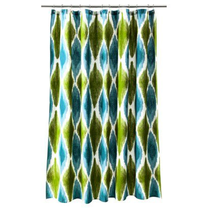 Threshold Large Ikat Print Cool Blue Teal Green Fabric