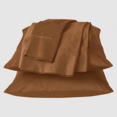 Fieldcrest Luxury PLEATED HEM King Brown 6-piece 400 TC King Egyptian Cotton Sheet Set